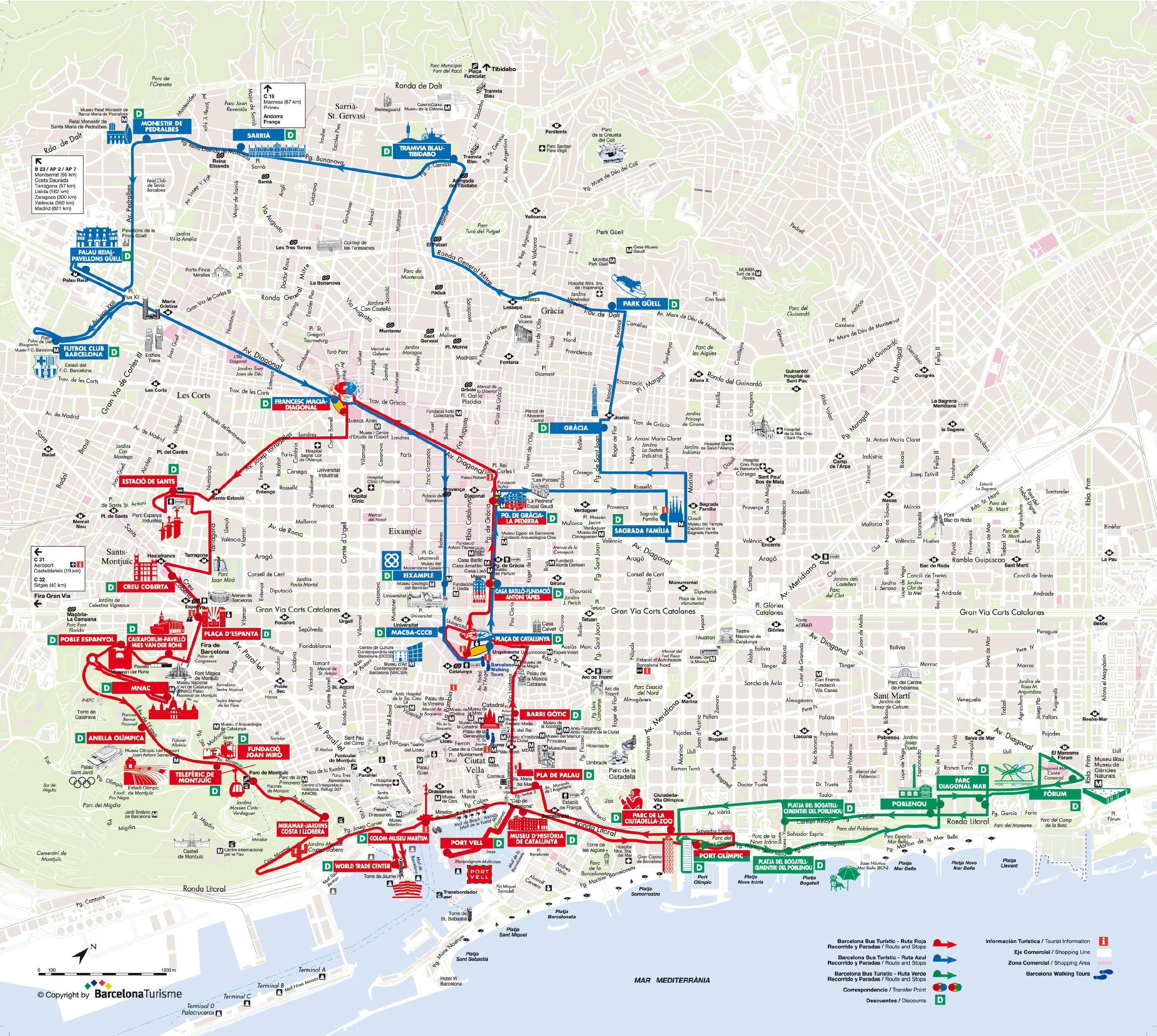 Cartina Quartieri Barcellona.Mappa E Cartina Turistica Di Barcellona Monumenti E Tour