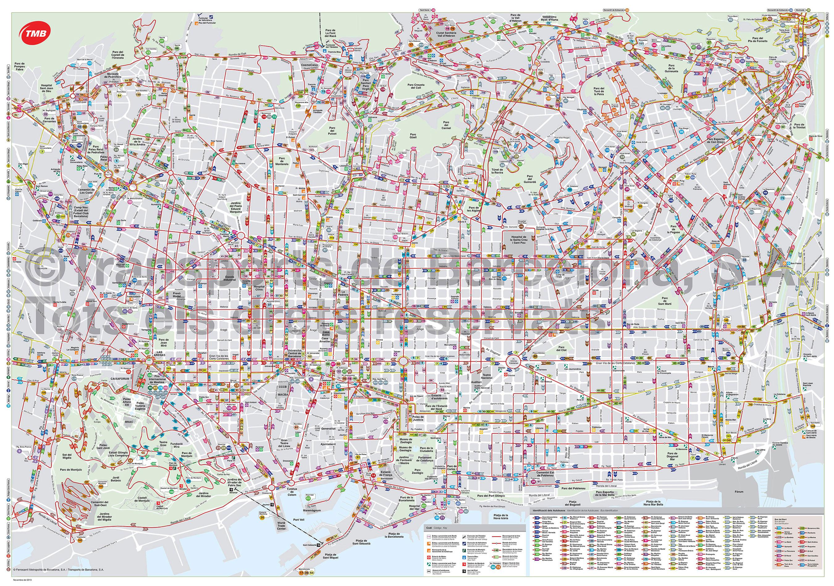 Cartina Metro Barcellona.Mappa E Cartina Del Autobus E Nitbus Di Barcellona Stazioni E Linee