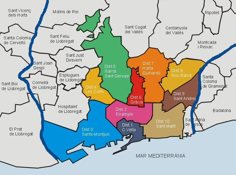Cartina Quartieri Barcellona.Mappa E Cartina Dei 10 Zone Distritos E Quartieri Di Barcellona